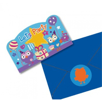 ABC Kids Giggle and Hoot Postcard Invitations with Envelopes 8 Pack