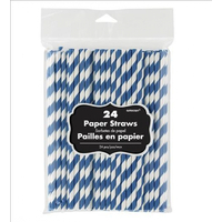 Paper Straws Blue 24 Pack