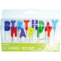 Happy Birthday Pick Candle Assorted Colours 13 Pieces