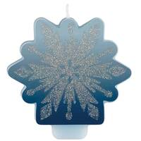 Frozen 2 Glittered Snowflake Birthday Candle