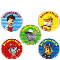 30 Paw Patrol Round Labels Pack