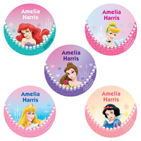 60 Disney Princess Round Labels Pack